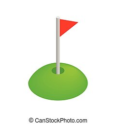 Red golf flag isometric 3d icon on a white background