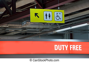 duty free shop - illuminated sign of a duty free shop on an...