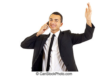 calling with cellphone - young businessman portrait....
