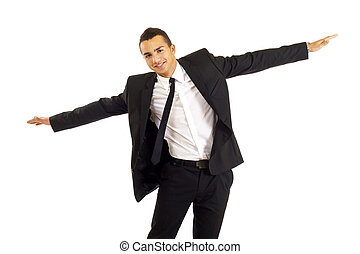 i can fly - Young businessman wanting to fly isolated on...