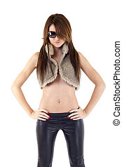 woman in fur jacket - sexy woman in fur jacket. isolated on...