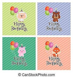Happy birthday - Set of backgrounds with text and happy...
