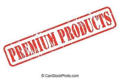 Premium products red stamp text on white