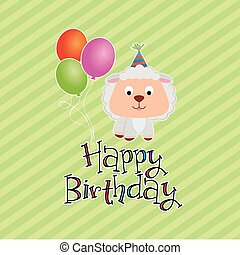 Happy birthday - Colored background with text and a happy...