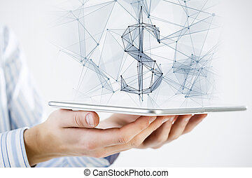 Dollar currency symbol - Hand holding tablet with digital...