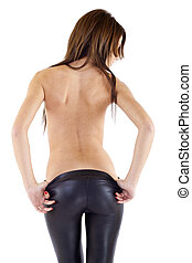 taking the pants off - girl wearing leather pants, from...