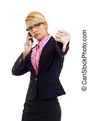 thumb down - woman with thumb down gesture and mobile phone...