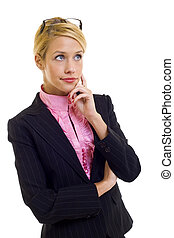 businesswoman thinking - Young businesswoman thinking,...