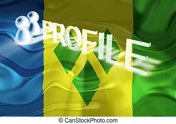 Flag of Saint Vincent and Grenadines wavy profile - Flag of...