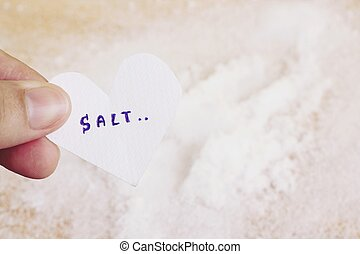 sea salt - words salt on paper use for background