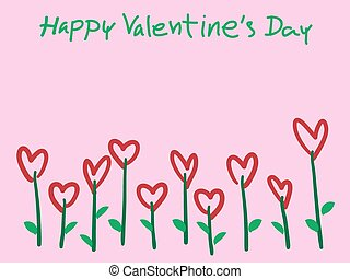 Valentine's Day Heart Flowers on pink Background