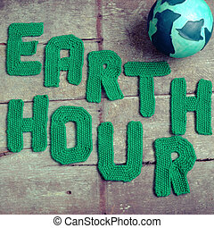 Earth hour message, worldwide - Earth hour letter in green...