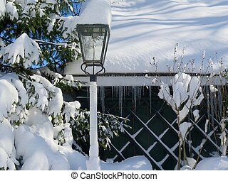 Snow Day - Winter landscape with snow covered cottage and...