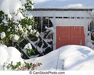 Snow Day - Detail of front door of house blocked by pile of...