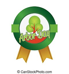 Arbor day - Isolated round label for arbor day. Vector...