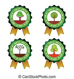 Arbor day - Set of round labels for arbor day Vector...