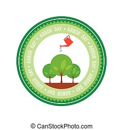 Arbor day - Isolated round label for arbor day Vector...