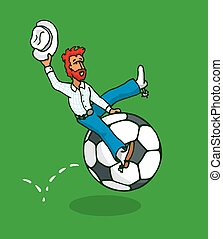 Cowboy riding a soccer ball or football rodeo - Cartoon...