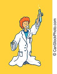 Young boy playing with science holding test tube - Cartoon...
