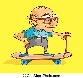 Active senior riding a skate - Cartoon illustration of bald...