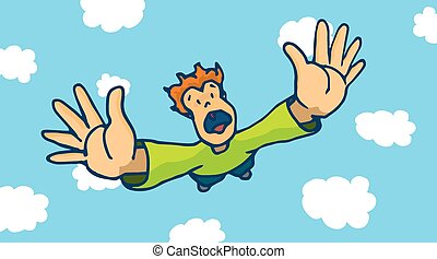 Desperate man free falling from sky - Cartoon illustration...