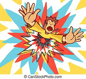 Man blown away by huge colorful explosion - Cartoon...