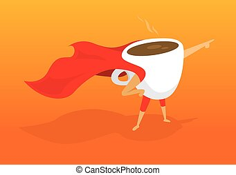 Super hero coffee breakfast pointing aiding to morning...