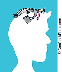 Businessman laying on silhouette head - Cartoon illustration...