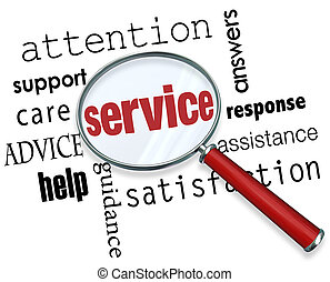 Service Magnifying Glass Word Attention Care Support Help Assistance