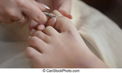 Woman Getting A Pedicure In Salon - Woman Getting A Pedicure...