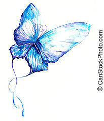 Butterfly - Delicate blue butterfly hand painted.Picture I...