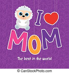 Mother's day - Colored background with a cute animal for...