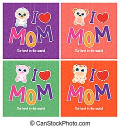 Mother's day - Set of backgrounds with cute animals for...
