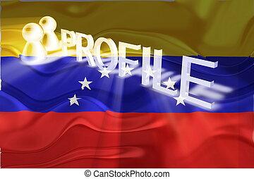 perfil, bandera, ondulado,  venezuela
