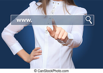 Young woman touching web browser address bar with www sign -...