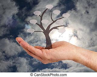 árvore, segurando, mão