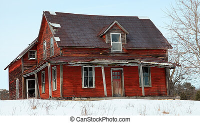 Abandoned House - An old abandoned house on a winter day