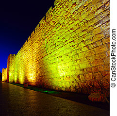 Night View of Ancient Walls Surrounding Old City in...
