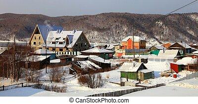 Village  - Listvyanka settlement, Lake Baikal, Russia.
