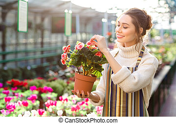 Charming happy young woman florist taking care of blooming...