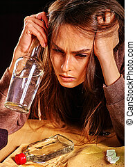 Drunk girl holding bottle of vodka. - Drunk girl holding...