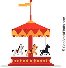 Kids carnival carousel in flat style. Merry-Go-Round vector...