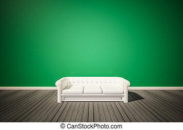 Green wall and dark wood floor
