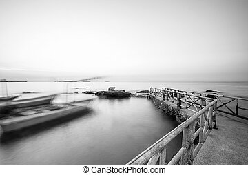 Long exposure of pier in east coast, Thailand, black and...