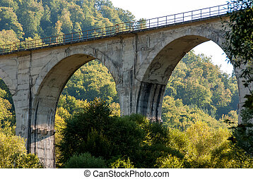 Railway bridge between mountains with lots of trees and...