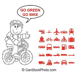 Transport Related Graphics - Red silhouette transport and...