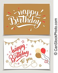 Happy Birthday greeting cards set. Brush calligraphy