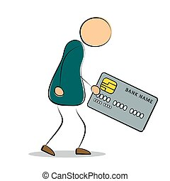 Man going to bank with credit card