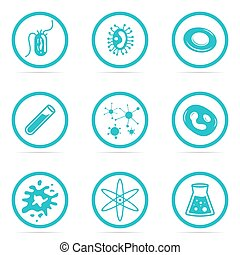 Icon Set Helpful and harmful cells bacteria - Vector...