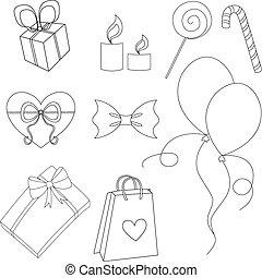 Happy birthday elements line vector set